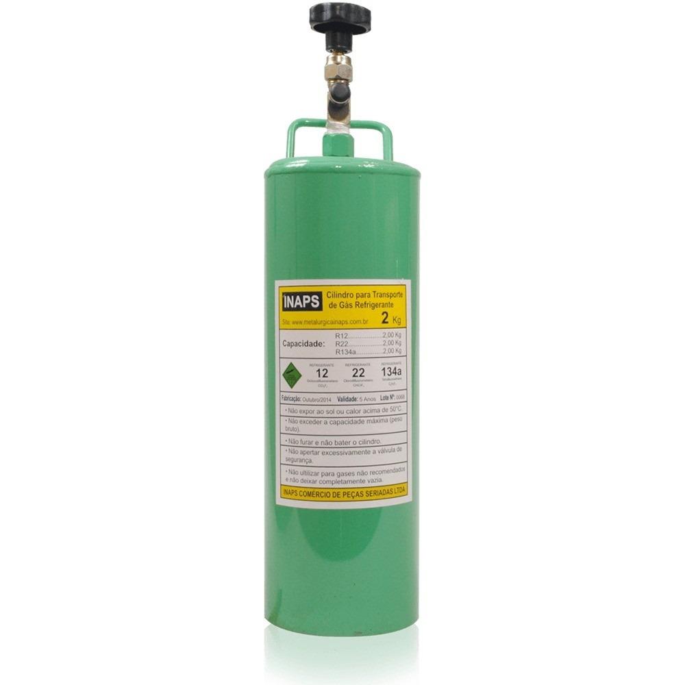 Cilindro garrafa p transporte de gases com g s r22 2kg for Valor cilindro de gas