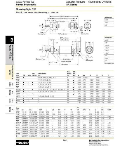 cilindro neumático parker  modelo 1.25dxpsry04.0