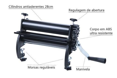 cilindro para massas - antiaderente- 28cm mariella- biscuit