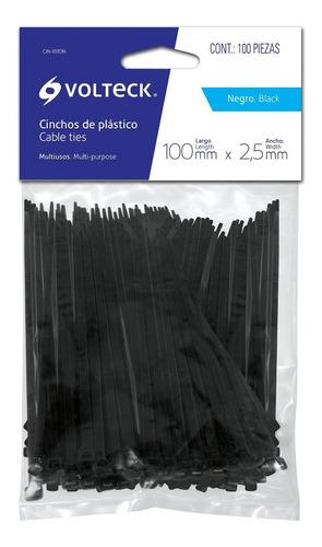 cincho negro 18 lb 2.5 mm x 100 mm 100 pz voltech 44320