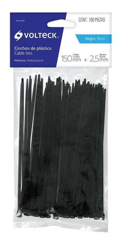cincho negro 18 lb 2.5 mm x 150 mm 100 pz voltech 44321