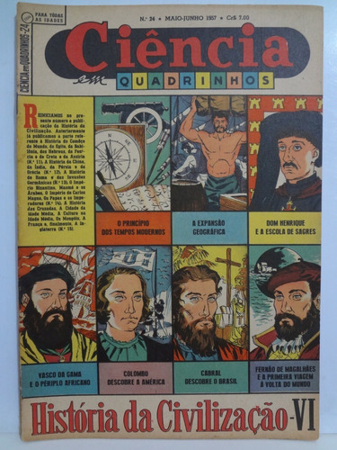 ciência em quadrinhos nº 24 historia  civilização 6 1957