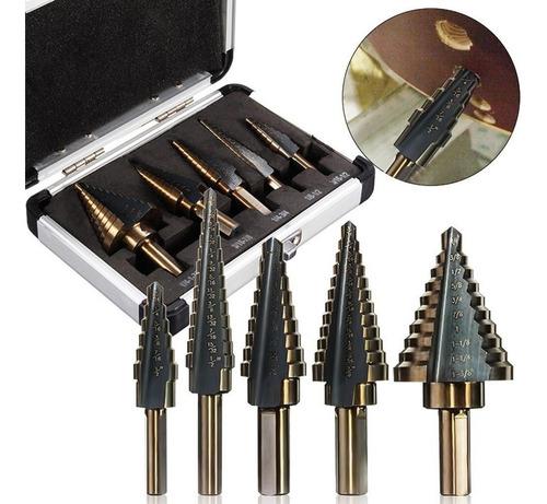 cinco brocas escalonadas conicas kit drill bit envio gratis