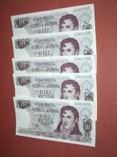 cinco correlativos  de 10 pesos ley..