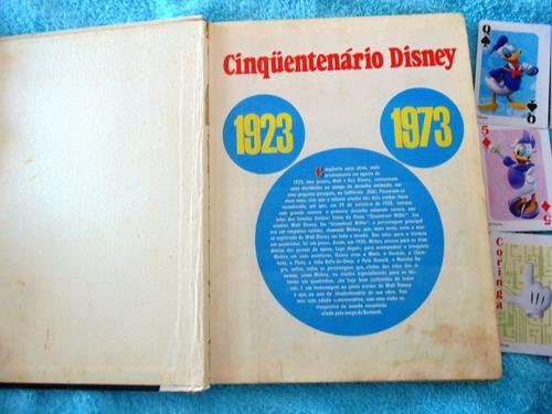 cinquentenário disney capa dura, ano 1973, brinde cards, obs