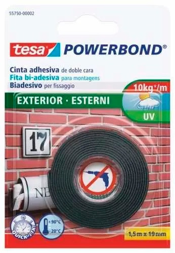 cinta adhesiva doble faz para exterior 19mm x 1,5mtros tesa