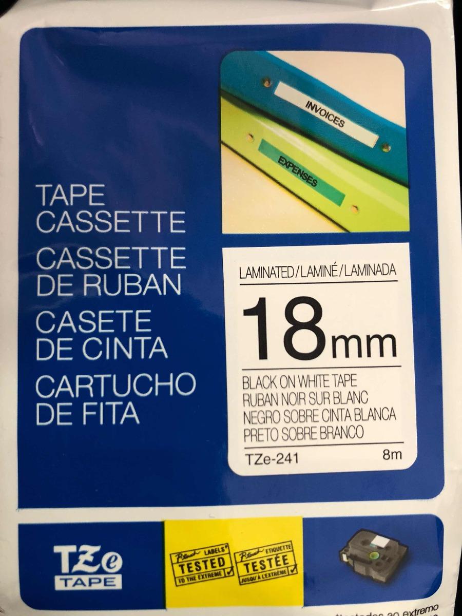 Cinta Adhesiva Laminada Brother Tze 241 18mm Negro S Blanco 500 Label Tape S241 Black On White Cargando Zoom