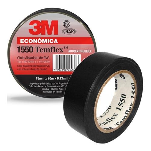 cinta aisladora 3m temflex 1550 negra 18mm x 20m