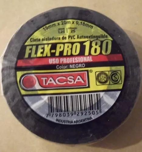 cinta aisladora pvc 20mt flexpro 180 tacsa x 10unid