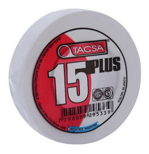 cinta aisladora tacsa plus pvc blanca 10mts x 10 unidades