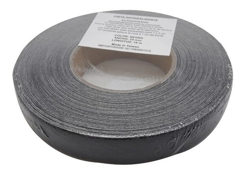 cinta antideslizante autoadhesiva 25 mm x 18 metros negra
