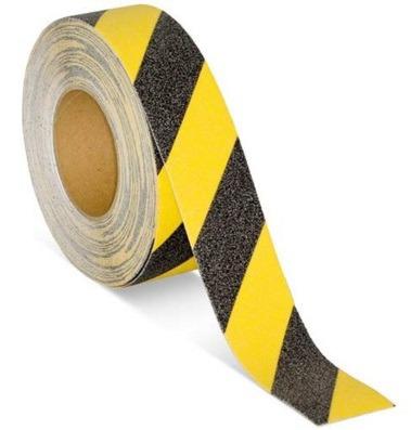 cinta antideslizante con franjas amarillo negro rollo x 5mts
