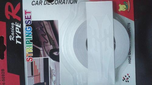 cinta auto adhesiva color blanco para carros
