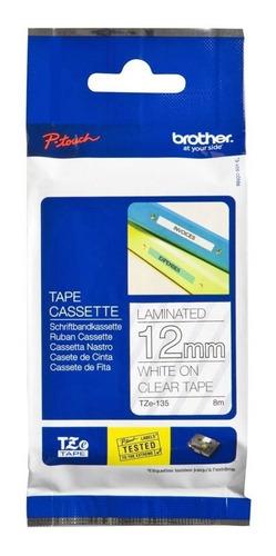 cinta brother para rotuladoras tze-135 blanco/transparente