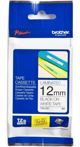 cinta brother para rotuladoras tze-231 negro fondo blanco