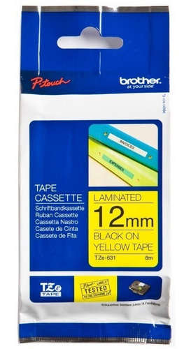 cinta brother para rotuladoras tze-631 negro fondo amarillo