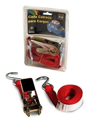 cinta catraca 3m com blister 01 peça vermelha eqmax