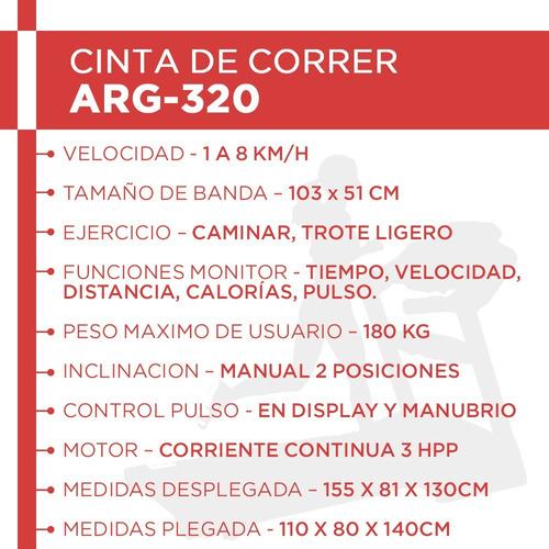 cinta correr randers arg320 h/ 180kg caminadora c motor 3hpp
