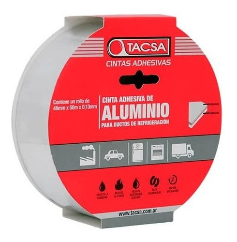 cinta de aluminio adhesiva 48mm x 50m refrigeracion