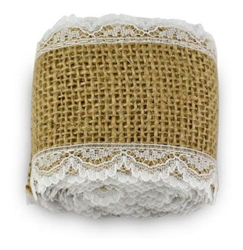 cinta de arpillera con puntilla decorativa
