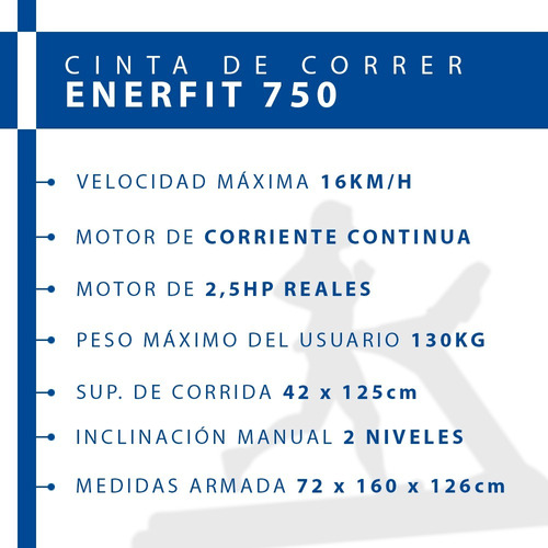 cinta de correr caminar - enerfit 750 - caminadora electrica