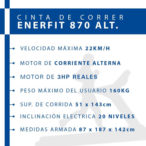 cinta de correr profesional enerfit 870 motor alterna