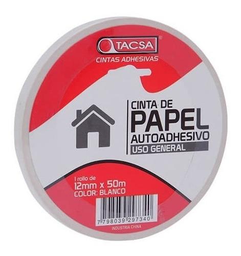 cinta de enmascarar papel 12 mm x 50 m tacsa blanca