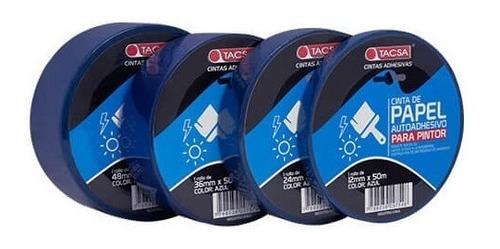 cinta de enmascarar papel 36 mm x 50 m tacsa azul pintor