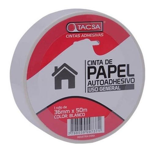 cinta de enmascarar papel 36 mm x 50 m tacsa blanca