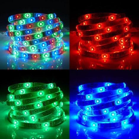 cinta de luces led delgado rgb 3528 5 metros -  kit completo