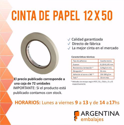 cinta de papel masking 12x50 pintor enmascarar caja x 72 u.