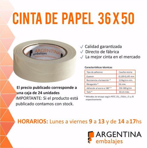 cinta de papel masking 36x50 pintor enmascarar en caja x24u.