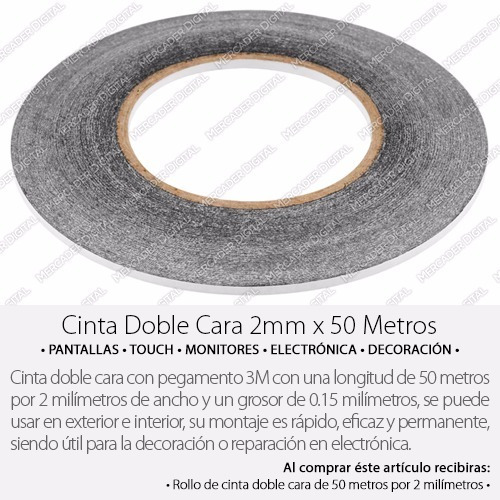 cinta doble cara 50 metros x 2mm marca 3m adhesiva celulares