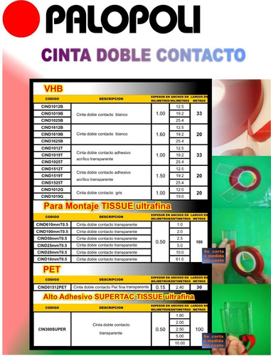 cinta doble contacto gris esp 1mm ancho 19mm x  20m palopoli