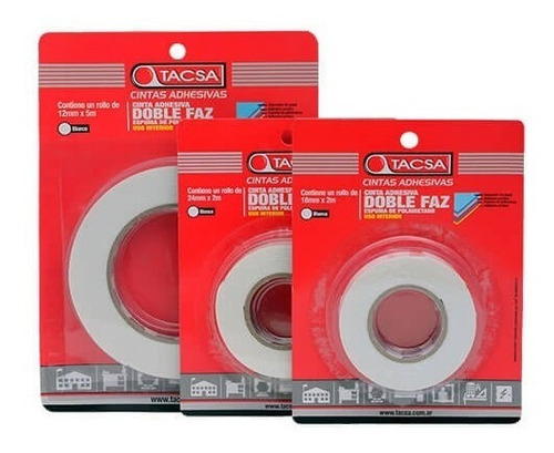 cinta doble faz adhesiva espuma tacsa 12mm x 5 mts envasada