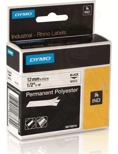 cinta dymo industrial polyester permanente 19mm 3/4 in.