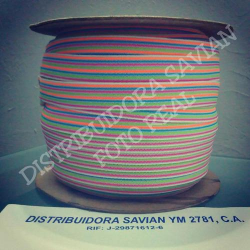 cinta elástica crochet 15mm con hilo multicolor de 90 mts