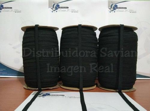 cinta elástica crochet 8mm negro de 200mts