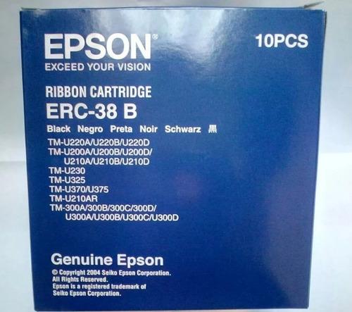 cinta epson erc38b original negro - caja de diez 10 unidades