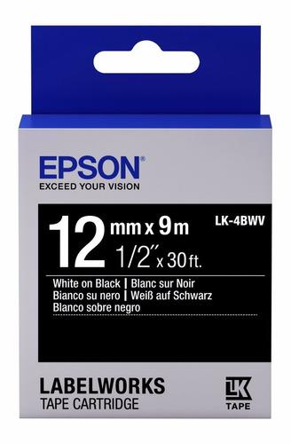 cinta epson lw-400 lk-4bwv blanco sobre negro 9mt 12mm
