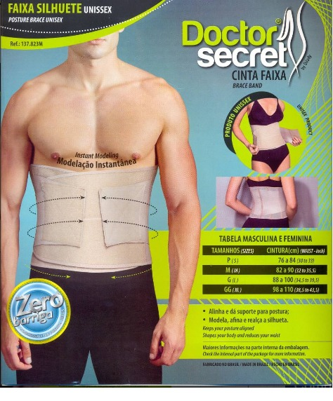 4ff02ac41 Cinta Faixa Modeladora Doctor Secret Dilady Unissex C velcro - R ...