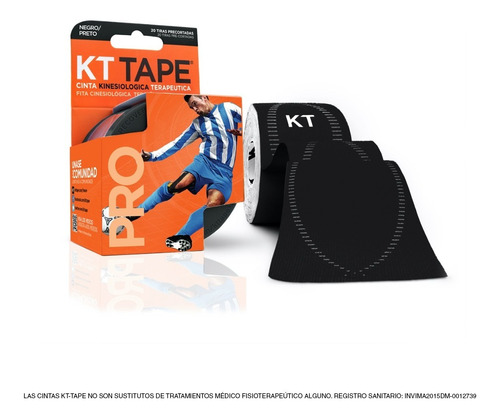 cinta kt tape sintética color negro