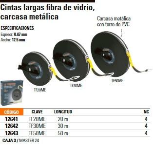 cinta larga fibra de vidrio 20 mt metalico truper 12641