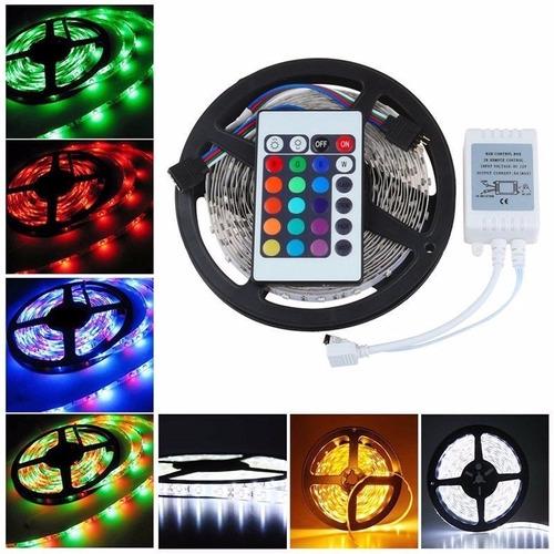 cinta led 12v rgb multicolor 5m + adaptador y control