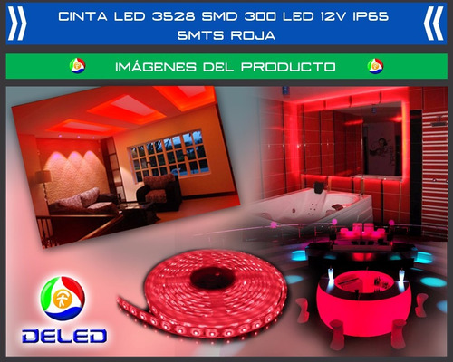 cinta led 3528 smd 60 led/mt 12 vdc rojo  alto brillo 5 mt