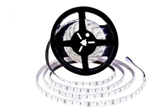 cinta led 5050 12v silicona rollo x 5 mt luz blanca o calida