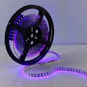 cinta led luz ultravioleta negra flúor rollo 5mt c/adaptador