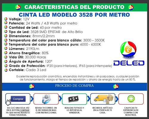 cinta led smd 3528 60led 5 metros blanco, azul, rojo, verde