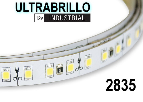 cinta led ultrabillo industrial 12v 2835 5m blanco cálido