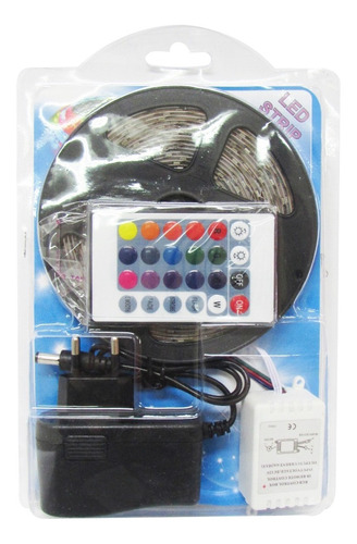 cinta luces tira 300 led 5 metros rgb multicolor + control